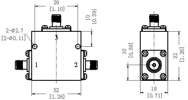 RF Coaxial Broadband Circulator, 2-4GHz, 10W, SMA Female, Technical Drawing
