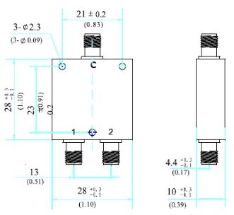Power Divider, 2 Way, SMA Female, Technical Drawing