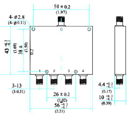 Power Divider, 4 Way, SMA Type Female 1~4GHz, Technical Drawing
