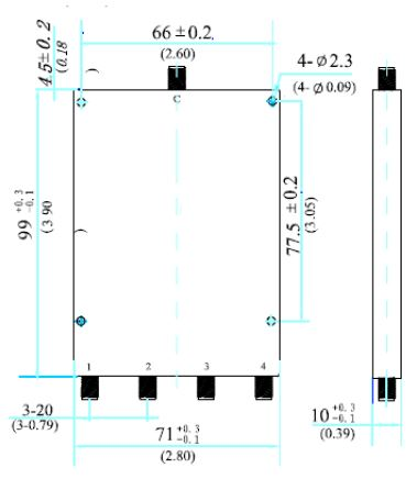 Power Divider, 4 Way, SMA Female, Technical Drawing