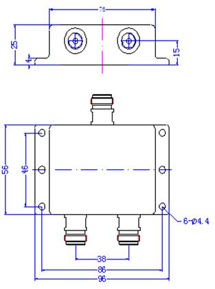 Power Divider, 2 Way, N-Type Female, Technical Drawing