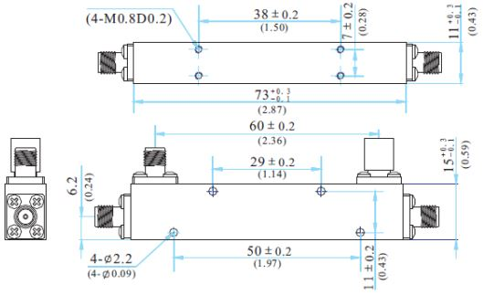 RF Coaxial Directional Coupler, SMA Female, Technical Drawing
