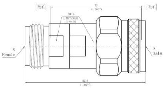 DC Block Inner, N-Type Male to N-Type Female, Technical Drawing