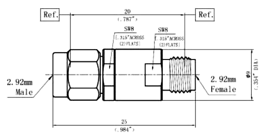 DC Block Inner, 2.92mm (K) Male to 2.92mm (K) Female, Technical Drawing