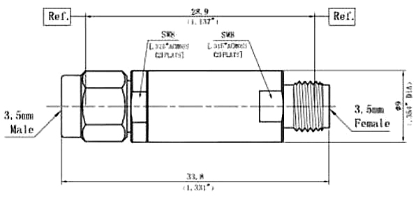 DC Block Inner, 3.5mm Male to 3.5mm Female, Technical Drawing
