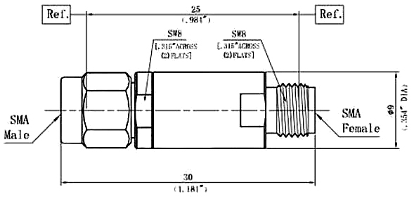 DC Block Inner, SMA Male to SMA Female, Technical Drawing