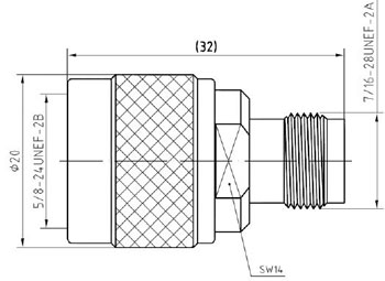 RF Adapter N-Type Male to TNC Female, Technical Drawing