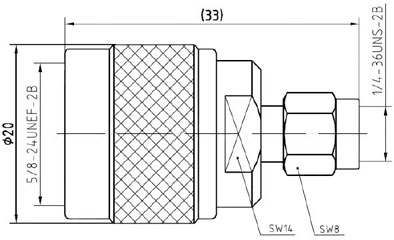 RF Adapter N-Type Male to SMA Male, Technical Drawing