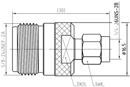 RF Adapter N-Type Female to SMA Male, Technical Drawing
