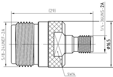 RF Adapter N-Type Female to SMA Female, Technical Drawing