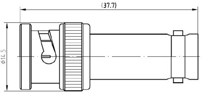 RF Adapter BNC Male to BNC Female, Technical Drawing
