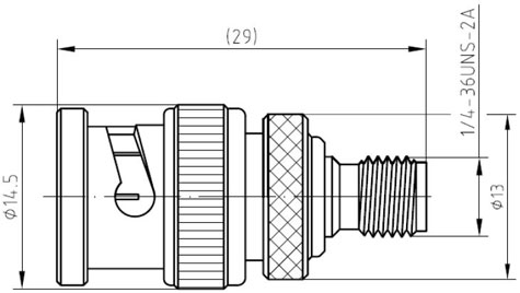 RF Adapter BNC Male to SMA Female, Technical Drawing