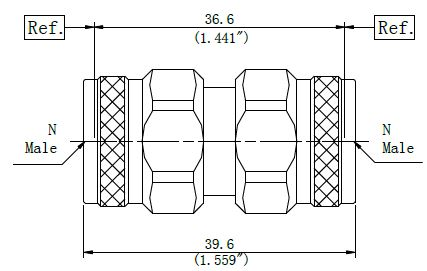 RF Precision Adapter, N-Type Male to N-Type Male, Technical Drawing