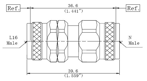 RF Precision Adapter, L16 Male to N-Type Male, Technical Drawing