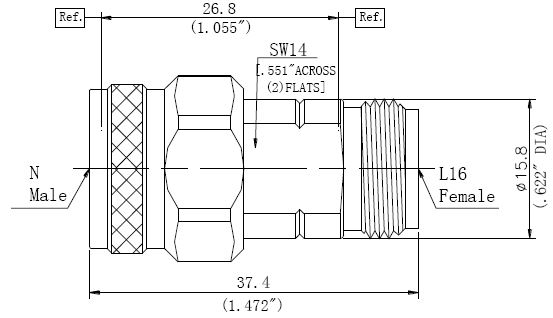 RF Precision Adapter L16 Female to N-Type Male, Technical Drawing