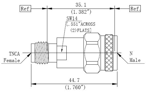 RF Precision Adapter N-Type Male to TNCA Female, Technical Drawing