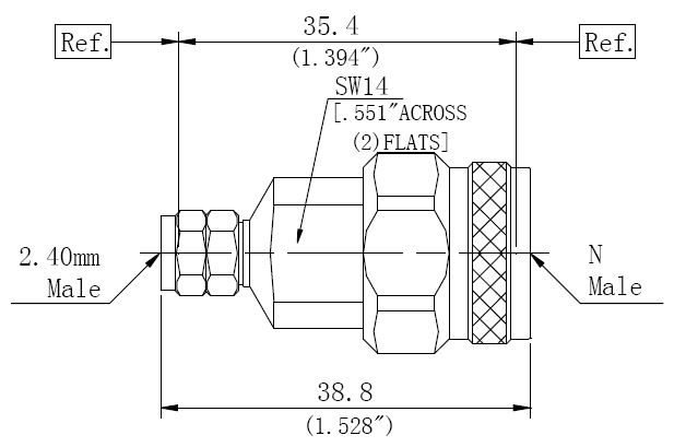 RF Precision Adapter N-Type Male to 2.4mm Male, Technical Drawing