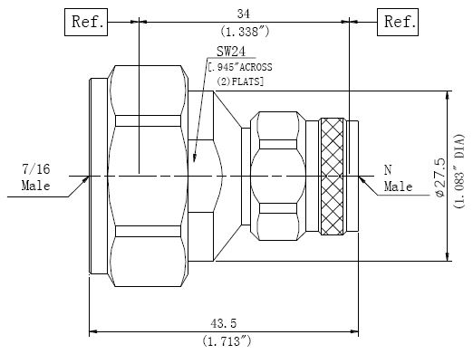RF Precision Adapter, 7/16 Male to N-Type Male, Technical Drawing