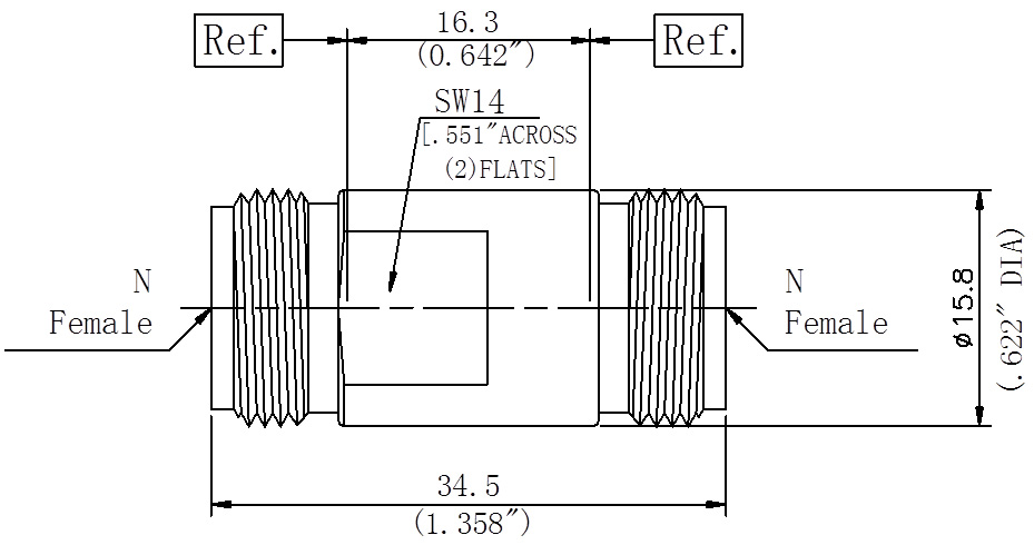 RF Precision Adapter, N-Type Female to N-Type Female, Technical Drawing