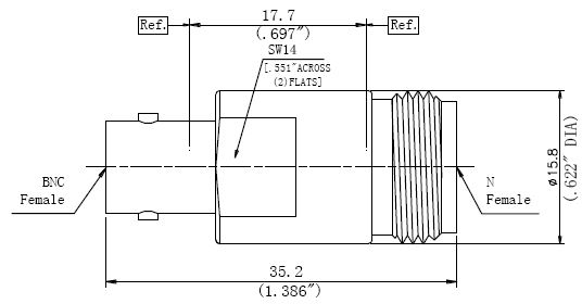 RF Precision Adapter, N-Type Female to BNC Female, Technical Drawing