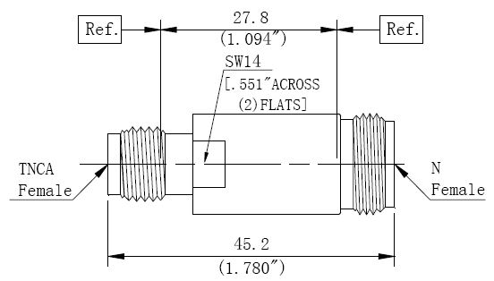 RF Precision Adapter N-Type Female to TNCA Female, Technical Drawing