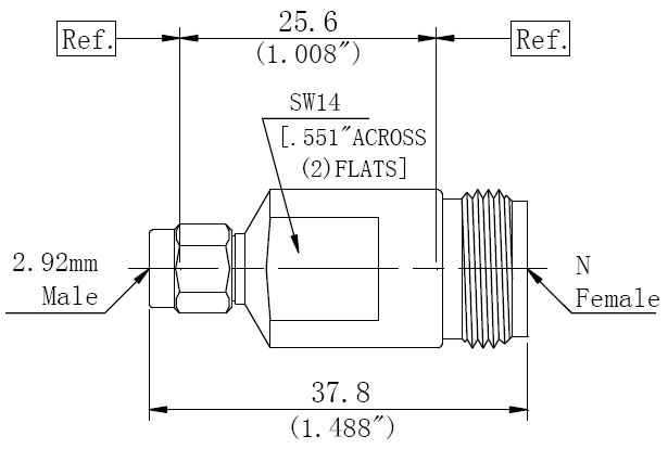 RF Precision Adapter N-Type Female to 2.92mm Male, Technical Drawing