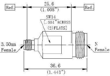 RF Precision Adapter N-Type Female to 3.5mm Female, Technical Drawing