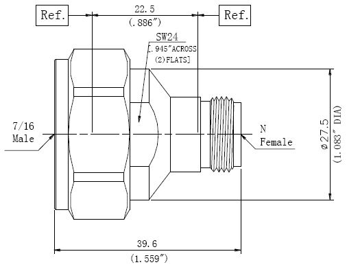 RF Precision Adapter, 7/16 Male to N-Type Female, Technical Drawing