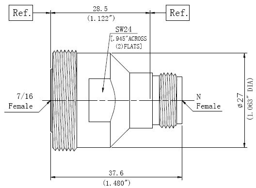 RF Precision Adapter, 7/16 Female to N-Type Female, Technical Drawing