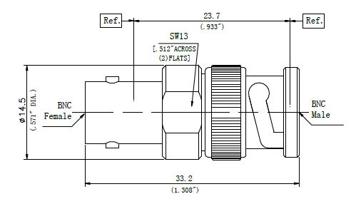 RF Precision Adapter, BNC Male to BNC Female, Technical Drawing