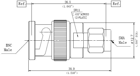 RF Precision Adapter, BNC Male to SMA Male, Technical Drawing