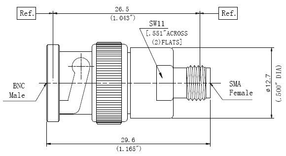 RF Precision Adapter, BNC Male to SMA Female, Technical Drawing