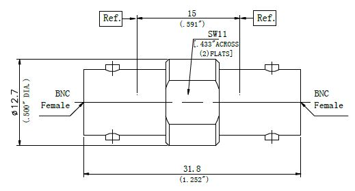RF Precision Adapter, BNC Female to BNC Female, Technical Drawing