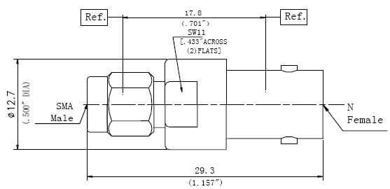 RF Precision Adapter, BNC Female to SMA Male, Technical Drawing