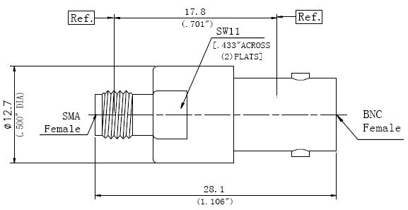 RF Precision Adapter BNC Female to SMA Female, Technical Drawing