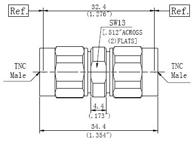 RF Precision Adapter TNC Male to TNC Male, Technical Drawing