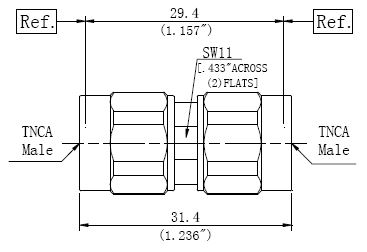 RF Precision Adapter, TNCA Male to TNCA Male, Technical Drawing