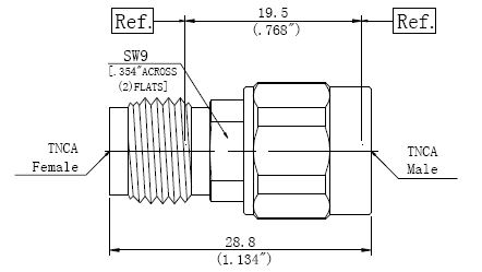 RF Precision Adapter TNCA Male to TNCA Female, Technical Drawing