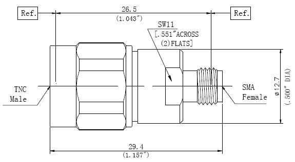 RF Precision Adapter TNC Male to SMA Female, Technical Drawing