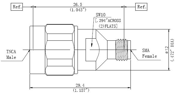 RF Precision Adapter TNCA Male to SMA Female, Technical Drawing