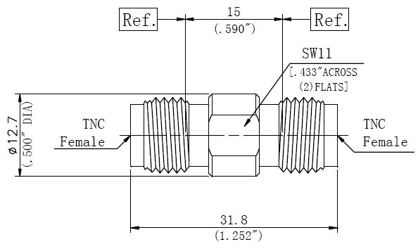RF Precision Adapter, TNC Female to TNC Female, Technical Drawing