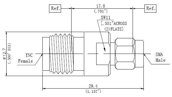 RF Precision Adapter TNC Female to SMA Male, Technical Drawing