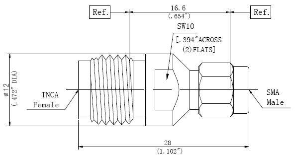 RF Precision Adapter TNCA Female to SMA Male, Technical Drawing