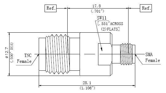 RF Precision Adapter TNC Female to SMA Female, Technical Drawing