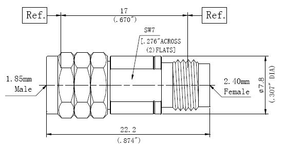 RF Adapter 2.4mm Female to 1.85mm Male, Technical Drawing