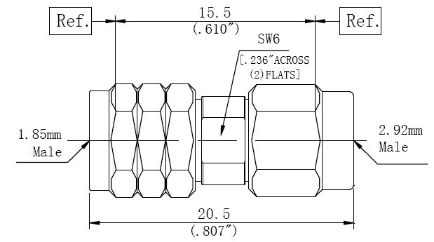 RF Adapter 2.92mm Male to 1.85mm Male, Technical Drawing