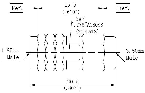 RF Adapter 3.5mm Male to 1.85mm Male, Technical Drawing