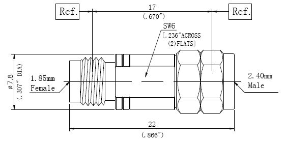 RF Adapter 2.4mm Male to 1.85mm Female, Technical Drawing