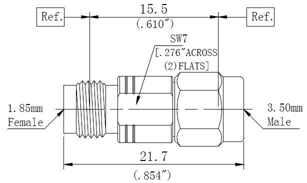 RF Adapter 3.5mm Male to 1.85mm Female, Technical Drawing