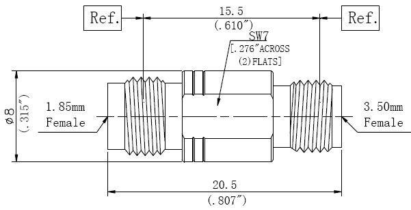 RF Adapter 3.5mm Female to 1.85mm Female, Technical Drawing